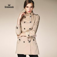 Wholesale women duster coat - Wholesale- Trench Coat For Women European British Style Leisure Duster Coat plus Stand Collar Fashion Women's Coats Women