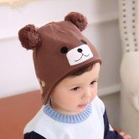 kızlar külahı kulaklıklar toptan satış-Bebek ayı örme şapka bebek etkilidirler kap erkek ve kız kapaklar ve kadife kalın sonbahar ve kış şapka pamuk kap