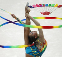 Wholesale Gym Sport Gymnastics - Wholesale- Dance Ribbon Gym Rhythmic Gymnastics Art Ballet Streamer Twirling Rod Outdoor Sport Games Kids Child Adult colorful Sports Toy