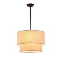 Wholesale Cloth Pendant Light Cord - European Simple Cloth Study Room Pendant Lamps Nordic Fashion Bedroom Pendant Light Dining Room Pendant Lights
