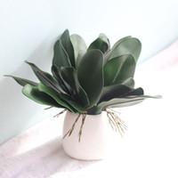 ingrosso foglia di orchidea-Real Touch Phalaenopsis Foglia Pianta artificiale Foglia Fiori decorativi Materiale ausiliario Decorazione floreale Foglie di orchidea 10pz