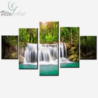 Wholesale cheap piece canvas prints landscape online - Cheap Canvas Art Print Waterfall Modular Pictures Piece Landscape Painting Home Decoration Wall Art Digital Prints