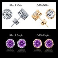 Wholesale Cz Sterling Ring 925 - Band New Crown Wedding Stud Earrings For Women 2016 New 925 Sterling Silver CZ Simulated Diamonds Engagement Jewelry Crystal Ear Rings