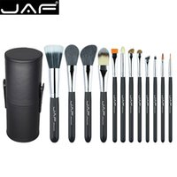 Jaf 12pcs Pinceles de maquillaje profesional Set Face Powder Foundation Eye Cosmetic Brush With Leather Holder Case Maquiagem Kits