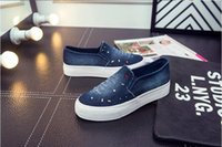Wholesale Denim Diamonds Shoes - Hot Sell European and American students loafers cowboy diamond Cow Muscle sets foot canvas Flat Platform shoes shallow mouth