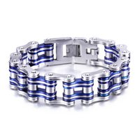 Wholesale Knight Rider Motorcycle - Brand New Biker 316L Stainless Steel Knight Rider Motorcycle chain Bracelet Silver & Blue Cool Holiday Gift 8.3''