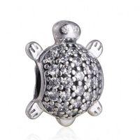 schildkröte perle für schmuck groihandel-Meeresschildkröte-Charme-Korn authentische 925 Sterling Silber pflaster Kristalltier Perlen für die Schmucksachen, die DIY Marke Armbänder Zubehör HB323