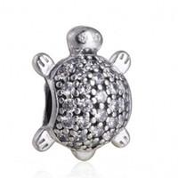 joyas de cuentas de tortuga al por mayor-Sea Turtle encanto de los granos de cristal auténticos de los granos animales plata esterlina pavimenta 925 para la joyería que hace DIY pulseras accesorios Marca HB323