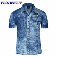 Wholesale Men S Comfortable Jeans - Wholesale-2016 New Spring Summer Style Men's Denim Shirts Short Sleeve Casual Shirt For Men 100% Cotton Breathable Comfortable Jeans Shirt