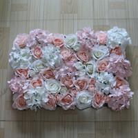 artificial white hydrangeas venda por atacado-O Envio gratuito de 10 pçs / lote seda Artificial rosa luz rosa e branco hydrangea flor decoração do casamento da parede do fundo
