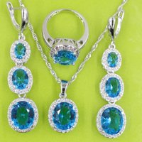 Wholesale Long Sterling Rings - Round Blue Topaz Sterling Silver Jewelry Sets For Women Zircon Necklace Pendant Rings Long Drop Earrings Free Jewelry Box