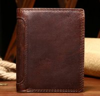 Wholesale Mail Holders - Wholesale- Crazy Horse Leather Wallet retro casual leather short Wallet   mail folder card