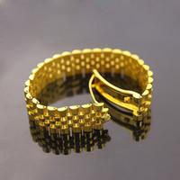 brazalete amarillo al por mayor-Amplia cadena de reloj Imperial corona pulseras brazaletes para hombres 316L acero inoxidable 18K amarilla rosa chapado en oro de lujo diseñador moda joyería
