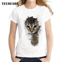 yaramaz kediler toptan satış-Toptan-TEEHEART 2017 Yaz Yaramaz Kedi 3D Güzel T Shirt Kadın Baskı Özgünlük O-Boyun Kısa Kollu T-shirt Üstleri Tee za056