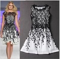 Wholesale T Shirt Mini Skirt - Wedding plus S-XXXL Women's dress summer dresses Lace stitching leaf print sleeveless T-shirt fashion skirt Mini vintage skirts