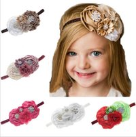 Wholesale Big Satin Flower Hair - Baby Headbands Big Flowers Kids Rhinestone Pearl Sparkle Headband Girls Elastic Chiffon Satin Hairbands Children Hair Accessories KHA124
