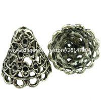 Wholesale Silver Filigree Bead Caps - 19049 8pcs Vintage Silver Hollow Wind Line Tassel End Cap Filigree Retro Jewelry