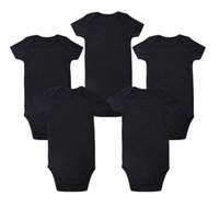Wholesale Baby Bodysuits Short Sleeve - Fashion Baby Rompers Short Sleeve Newborn Infant Boy Girl Clothes Baby Jumpsuit Black Bodysuits Clothes Onesie