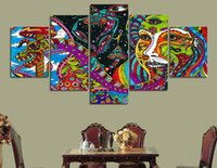 Wholesale Nude Male Painting - 5 Panel HD Printed Abstract pattern Painting on canvas room decoration print poster picture canvas male nude paintings
