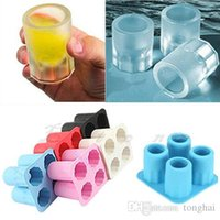 gummiformfolien groihandel-4-Cup Eiswürfel Schuss Form Gummi Shooters Glas Freeze Mould Maker Tray Party H2010223