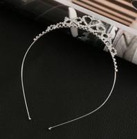 saç elmas şeritler toptan satış-2017 Kadın Kızlar Firkete Prenses Taç Gümüş Kristal Saç Hoop Takı Elmas Tiara Kafa Saç Aksesuarları
