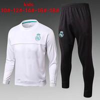 Wholesale child jogging suit - 2017 2018 Kids kit Real Madrid jacket Jogging Boys Soccer kit Football Suits Youth Sport Wear 17 18 Children Ronaldo training tracksuit