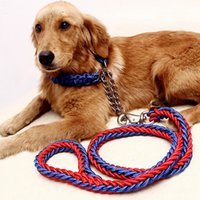 Wholesale Long Leather Leash Wholesalers - Hand Knit Pet Dog Collars and Leashes Sets 1.2 Meters Long AA Quality Training Dog Supplies Free Shippping