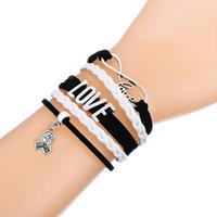 Wholesale Multi Ribbon Bracelet - Hot Sale Multi-layer Braided Bracelets POW MIA & SURVIVOR on Ribbon Charm Pink And White Adjustable Leather Bracelet for Dailywear