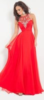 Wholesale Cherry Red Formal Dresses - 2016 Halter Crystal Red Chiffon Prom Dresses Cherry Long Tulle Sheer Evening Dress Formal Gown Discount