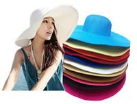 chapéus de verão vintage senhoras venda por atacado-Novo Vintage Cor Sólida Das Senhoras Das Senhoras Floppy Chapéus De Palha De Largura Da Aba Casuais Verão Sol Chapéus