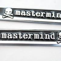 Wholesale Fender Head - Black Mastermind Skull Logo Blade Sticker Metal Emblem Fender Side Decal Wind 3D Shape Badge Knife For TRANSFORMERS SPORT