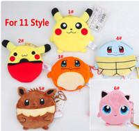 Wholesale Lady Style Toys - Poke Pikachu Coin Purses New Women Lady Cartoon Plush Pouch Change Mini Wallets Children Organizer Toys Gifts 11CM 7 Styles HH-T27