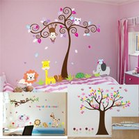 Wholesale Play Zoo - 100pcs ZY5108 5084 9052 animals playing wall stickers for kids room decorations 5108. zoo adesivo de paredes tree home decals owls giraffe