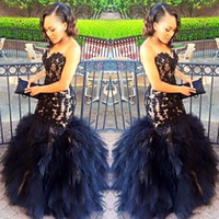 Wholesale Girls Outfits Size 12 - Modern Black Girls Long Mermaid Prom Evening Dresses 2018 Applique Lace Bodice Organza Ruffles Skirt Sweetheart Custom Outfit