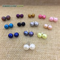 Wholesale Pearls Cultured Grey - Hot stud pearl earrings natural freshwater Cultured pearls AAA 925 silver white black grey pink purple blue yellow red orange brown