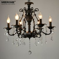 Vintage Black Crystal Pendant Light Fixture 6 luzes American Wrought Iron Pendant Lamp Suspensão suspensão Drop Light