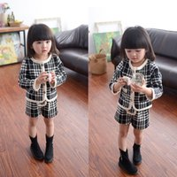 Wholesale Cotton Jackets For Girls - autumn girl Houndstooth cardigan long sleeved jacket Shorts 2 piece suit for 2-7T