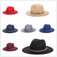 Wholesale Straw Jazz Hats - Fashion Unisex Autumn Winter Straw Braid Wide Large Brim Cowboy Jazz Felt Hat Cap
