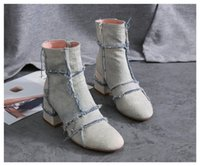 Wholesale Denim Shorts Boots - Fashion Denim Autumn Women Short Boots 2017 New Thick High Heels Dress Shoes Woman Rome Motorcycle Booties Lady Pumps
