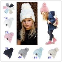 Wholesale Kid Ear Muffs Pink - 2018 Candy Colors CC Child Winter Autumn Knitted Hat Beanies Pink Beanies Kids Girls and Boys Warm Pom Pom Caps for Children Christmas Gifts