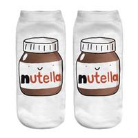schnittflasche großhandel-Großhandels-Art und Weise 3D druckte Socken-weiße Erdnussbutter-Flasche Nutella Frauen-Unisex-nette niedrige Schnitt-Knöchelsocken-Frauen-Socken-beiläufige Socken