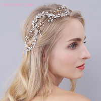 Wholesale Vintage Rhinestone Head Piece - rosebridalpark headpieces crystal head piece vintage bridal gold headband rhinestone wedding hair jewelry party accessories A442