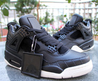 Wholesale Top Cut Leather - 2016 Air Retro 4 Premium Black Leather men Basketball Shoes horse hair retro 4s mens outdoor sneakers training shoes top quality size