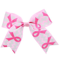 Wholesale Hair Band Bow Women - New Breast Cancer Awareness Hair Rope with Band for Girl and Woman Gilding Pink Ribbon Hair Accessories Elastic Bow Hair Ring