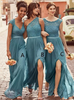Wholesale Teal One Shoulder Chiffon Dresses - 2018 New Mixed Teal Bridesmaid Dresses Jewel Neck Illusion For Weddings Lace Appliques Chiffon Split Side Long Plus Size Maid of Honor Gowns