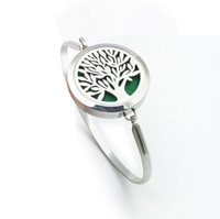 Wholesale Fish Pads - New tree of life Aromatherapy Bracelet 316L s.steel Essential Oils Diffuser Locket Bangle high quality jewelry Free Shipping (free felt pads