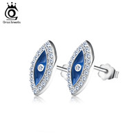 Wholesale Pave Evil Eye - Blue Crystal Evil Eye Stud Earring Micro paved AAA Austrian Cubic Zirconia for Girl Fashion Women Jewelry 2016 New Style OE131