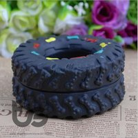 Wholesale Tire Chew Toy - Tire pet toys Free shipping Pet Dog Cat Animal Chews Squeaky Sound Rubber Tire Shape Dog Toy New 8*4cm tire pet toys