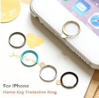 Wholesale 4s Button Metal - New Aluminum Home Key Portector Ring Sticker Touch ID Button Metal Round For iPhone 6 6s Plus 5 5s 4 4s