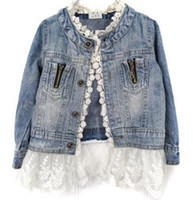 Wholesale 4t Jean Jacket - Spring Autumn Lovely girls outerwear Lace Cowboy Jacket Denim Top Button Costume Outfits Jean Coat Kids Girls Clothing for 2-7T